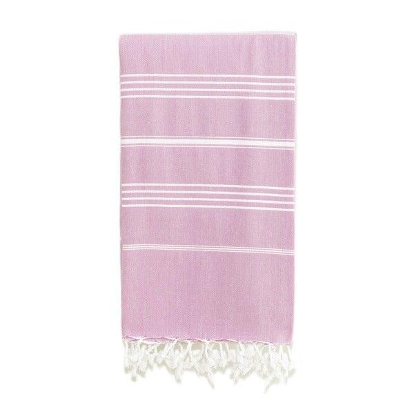 Authentic Pestemal Fouta Original Lilac and White Stripe Turkish Cotton Bath/ Beach Towel