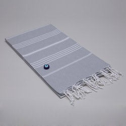 Authentic Pestemal Fouta Original Gray and White Pencil Turkish Cotton Bath/ Beach Towel