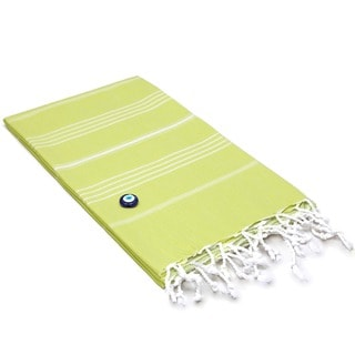 Authentic Pestemal Fouta Original Lime Green and White Pencil Turkish Cotton Bath/ Beach Towel