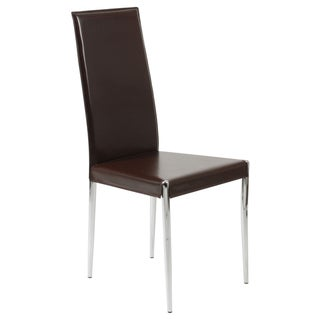 Rosina Chrome-Steel Base Leather Chair (Set of Four)