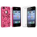 BasAcc Hot Pink Rose Rear Case/ LCD Protector for Apple iPhone 4/ 4S