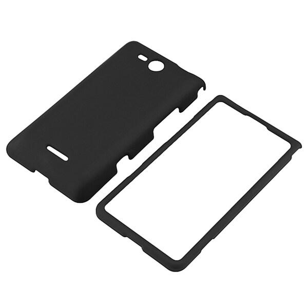 INSTEN Black Snap-on Rubber Coated Phone Case Cover for LG Lucid VS840