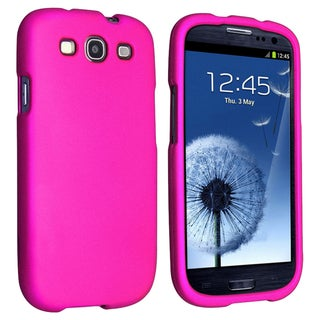 BasAcc Pink Snap-on Rubber Coated Case for Samsung Galaxy S III/ S3