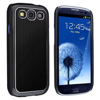 BasAcc Black/Silver Brushed-Aluminum Rear Snap-On Case for Samsung Galaxy S III/S3