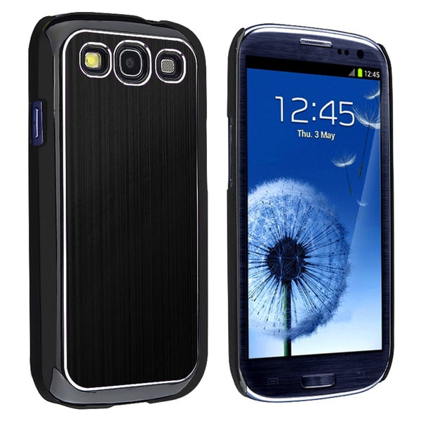 INSTEN Black/ Silver Brushed-Aluminum Rear Snap-On Phone Case Cover for Samsung Galaxy S III/ S3