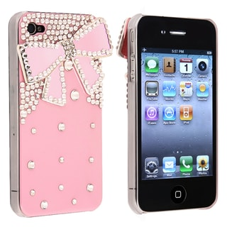 INSTEN Pink with Diamond/ Ribbon Snap-on Phone Case Cover for Apple iPhone 4/ 4S