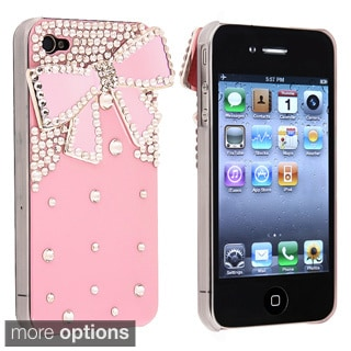 BasAcc Pink with Diamond/ Ribbon Snap-on Case for Apple iPhone 4/ 4S