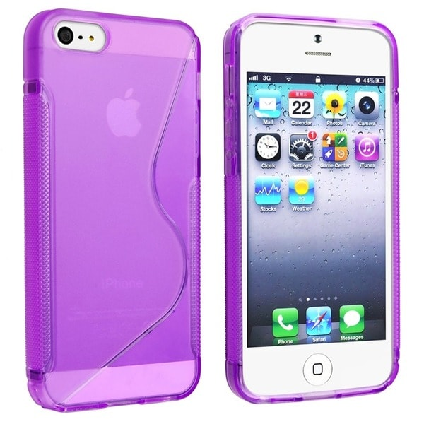 INSTEN Clear Purple S Shape TPU Rubber Phone Case Cover for Apple iPhone 5/ 5S