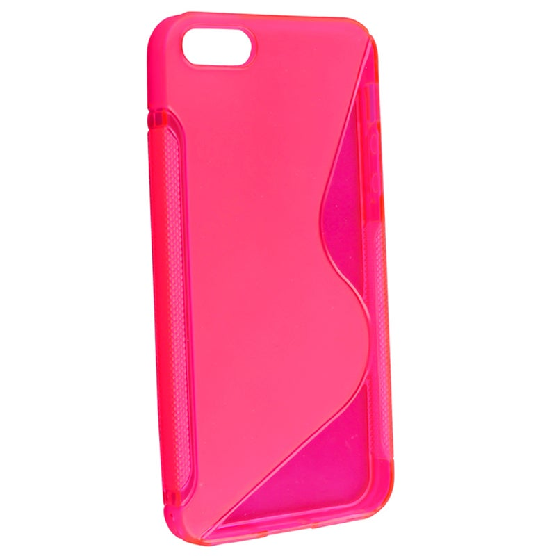 BasAcc Clear Hot Pink S Shape TPU Rubber Case for Apple iPhone 5
