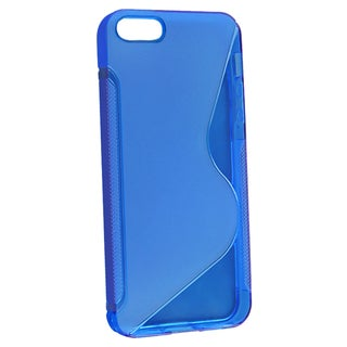BasAcc Clear Blue S Shape TPU Rubber Case for Apple iPhone 5