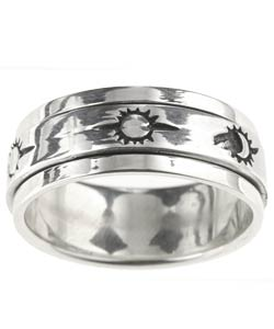 Tressa Sterling Silver Sun Moon Spinner Ring