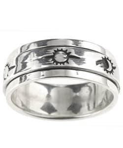 Tressa Sterling Silver Sun Moon Spinner Ring
