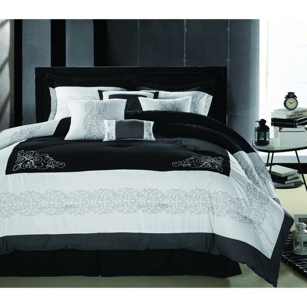 Florence Black/White 8-piece Oversized King-size Comforter Set