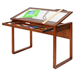 Studio Designs Ponderosa Glass-topped Solid Wood Drafting Table
