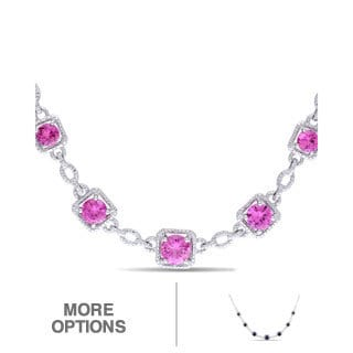 Miadora Sterling Silver Sapphire or Ruby and Diamond Accent Necklace