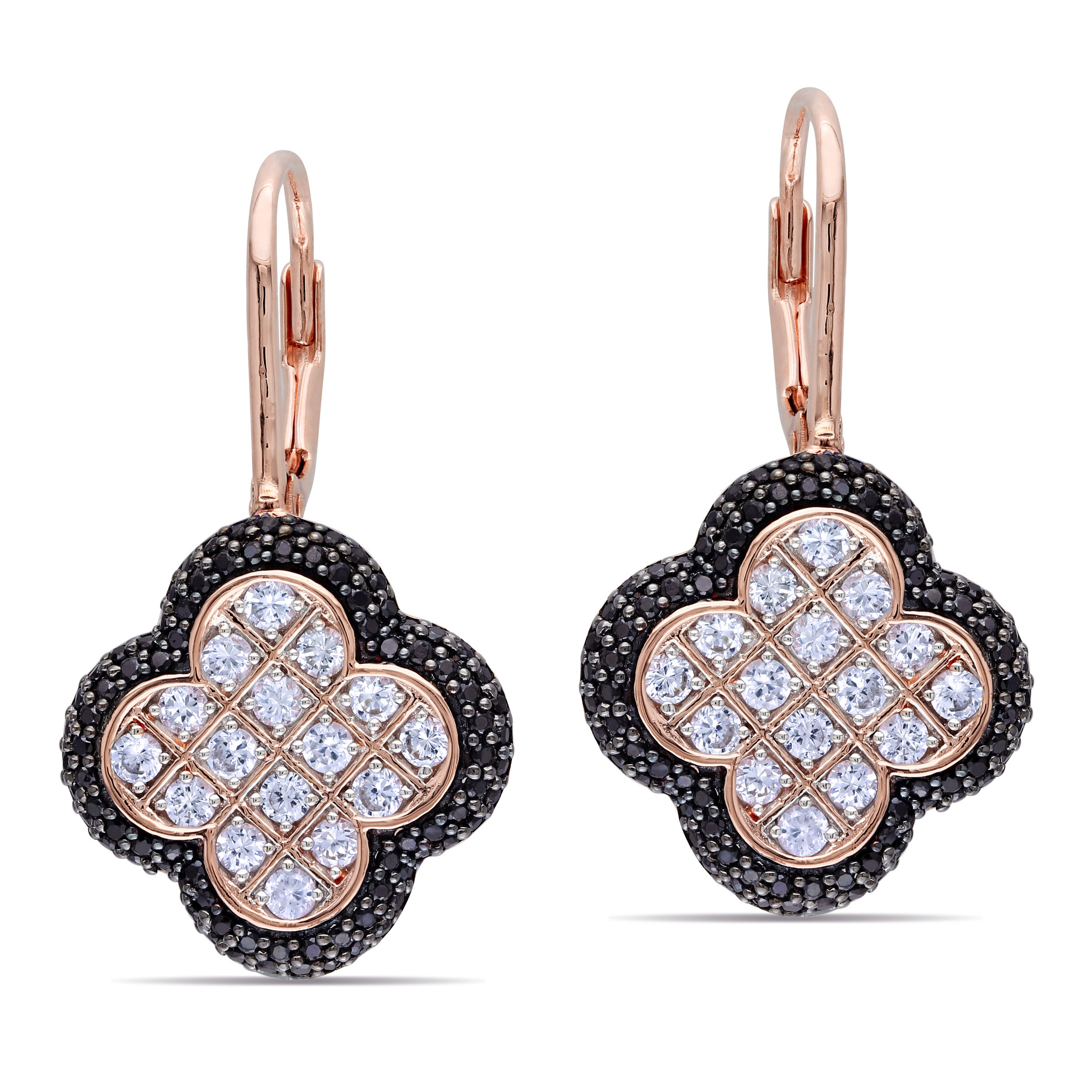 Miadora Pink-plated Silver Created Sapphire and Black Spinel Earrings