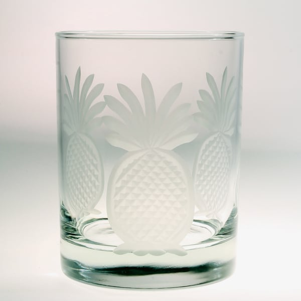 Rolf Glass Pineapple Double Old Fashion 14-ounce Glass (Set of 4)