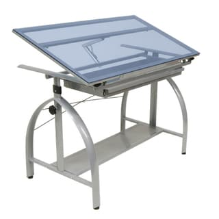 Studio Designs Avanta Drafting Table Silver/Blue Glass