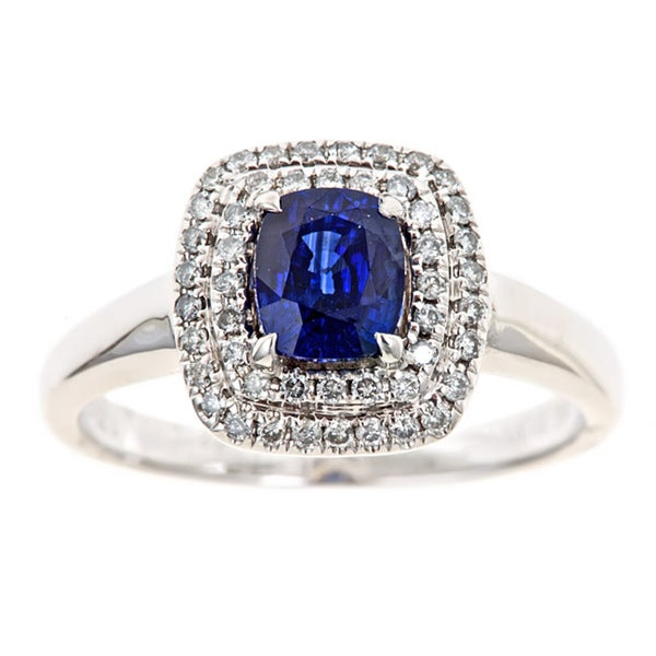 Anika and August 18k Gold Sapphire and 1/3ct TDW Diamond Ring (G-H, I1-I2)