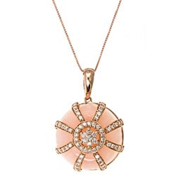 D'yach 14k Gold Pink Opal and 1/2ct TDW Diamond Necklace (G-H, I1-I2)
