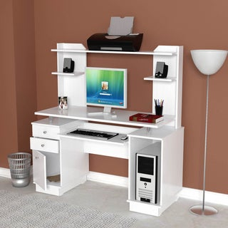 Inval Modern White Computer Workcenter/ Credenza and Hutch