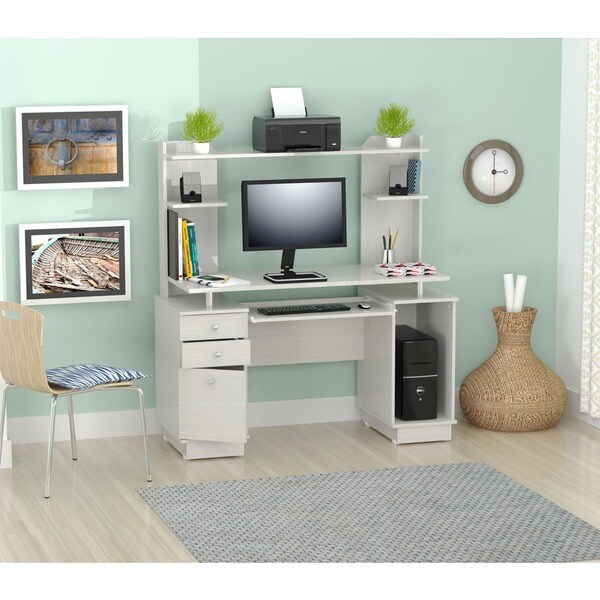 Modern White Computer Workcenter Credenza Hutch Desk Office Furniture