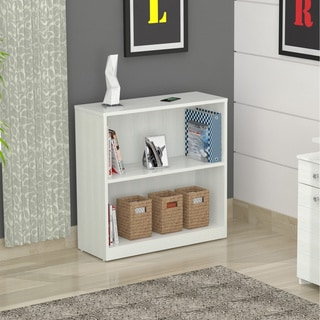 Inval White Two Shelf Desk Bookcase