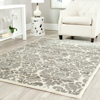 Porcello Damask Ivory/ Grey Rug (6'7 x 9'6)
