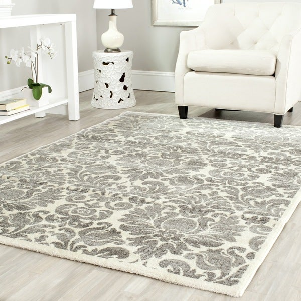 Safavieh porcello damask ivory grey rug 6 39 7 x 9 39 6 for Living room rugs 6x9