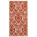 Porcello Damask Ivory/ Red Rug (2'7 x 5')