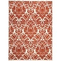 Porcello Damask Ivory/ Red Rug (4' x 5'7)