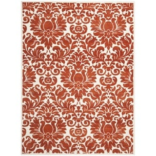 Porcello Damask Ivory/ Red Rug (8' x 11'2)
