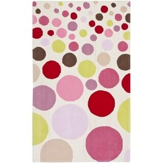 Safavieh Handmade Children's Bubbles Ivory/ Pink Wool Rug (8' x 10')