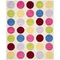 Safavieh Handmade Children's Pokka Dots Ivory Wool Rug (9' x 12')