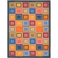 Metropolis Blocks Blue Rug (4'7 x 6'6)