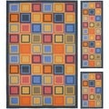 Metropolis Blocks Blue Rug (Set of 3)