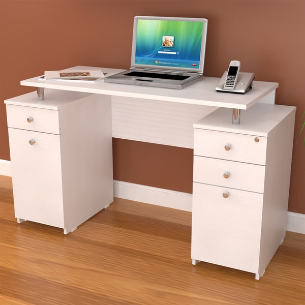 Inval Laricina White Modern Straight Computer Writing Desk