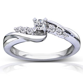 Annello 14k White Gold 1/5ct TDW Round Diamond Promise Ring (G-H, I1-I2)