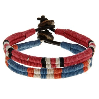 Set of 2 Red and Blue Leather Bracelets (India)