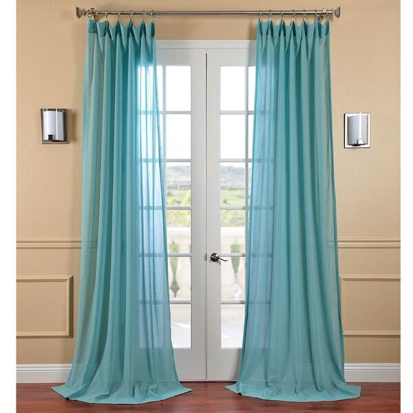 EFF Lagoon Faux Linen Sheer Curtain Panel