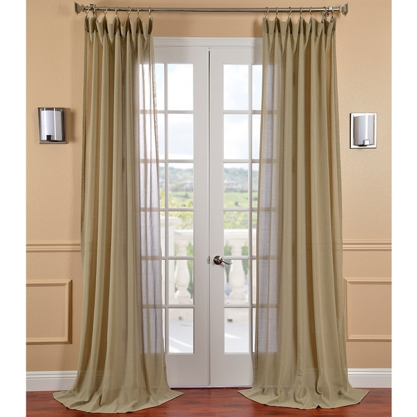 Exclusive Fabrics Sage Faux Linen Sheer Curtain Panel