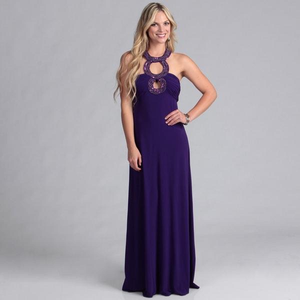 Institute Liberal Purple Beaded Neck Formal Dress