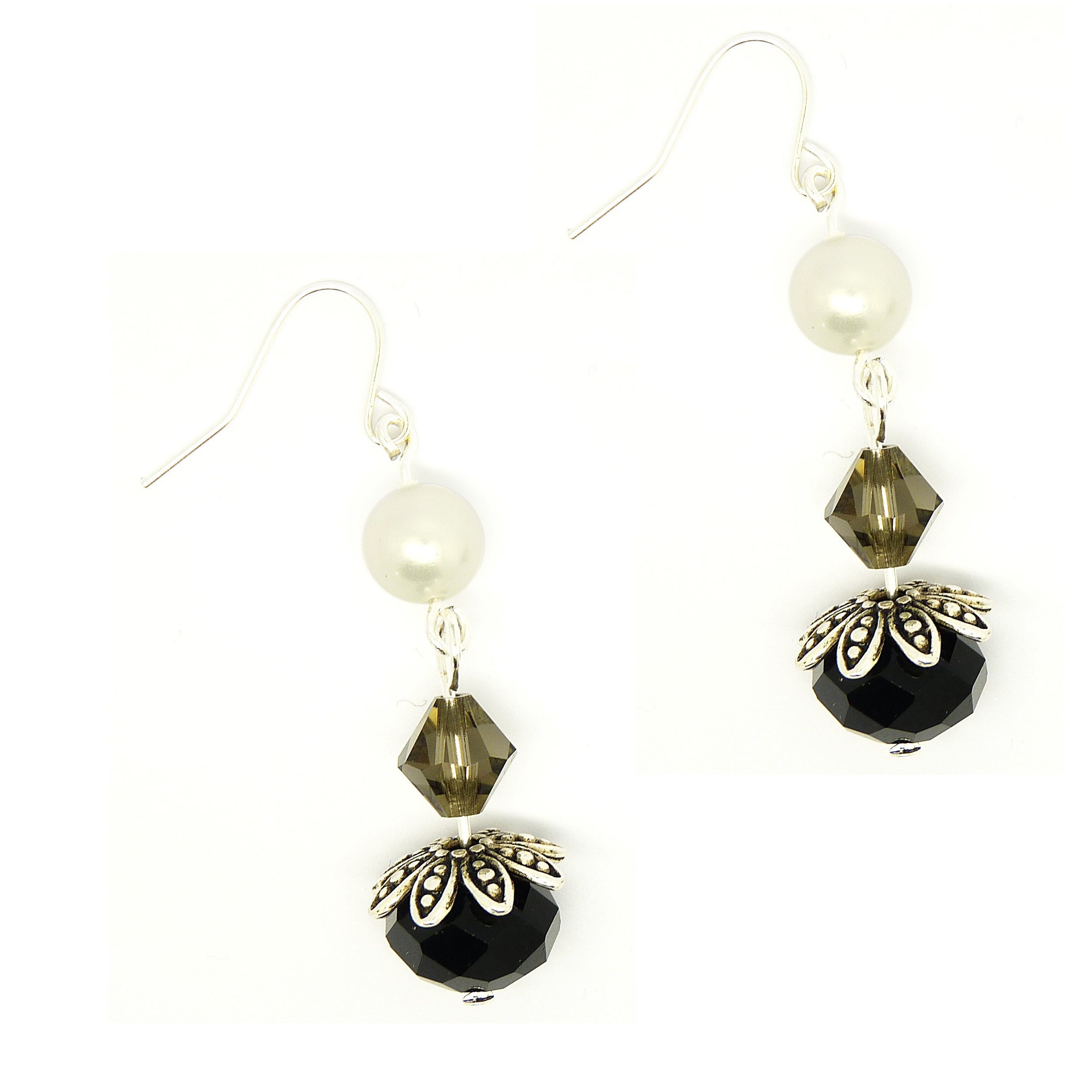 Pretty Little Style Tibetan Silver Shell Pearl Dangle Earrings