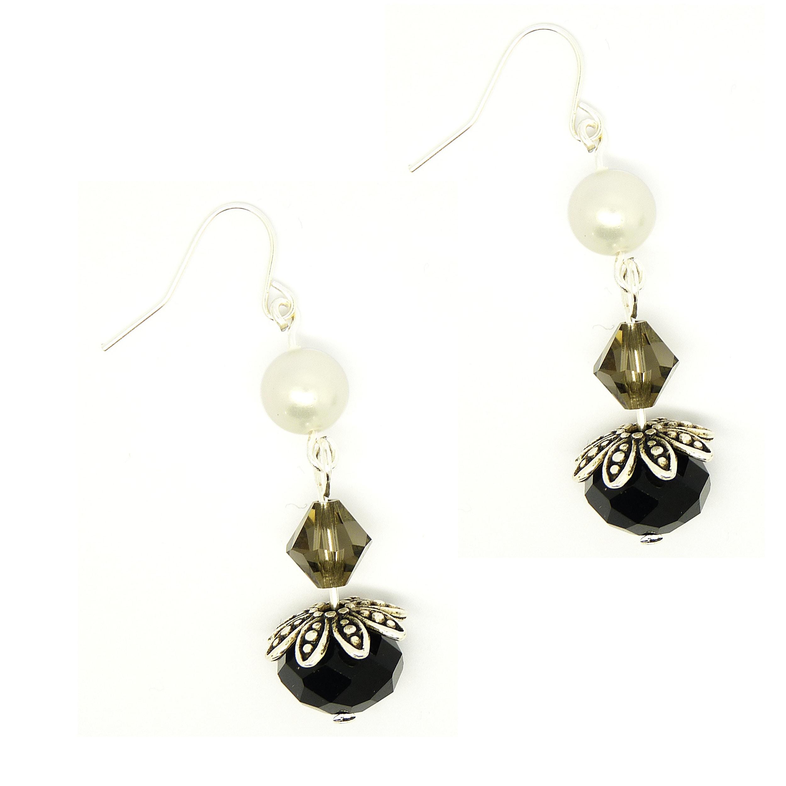 Pretty Little Style Tibetan Silver Shell Pearl Dangle Earrings