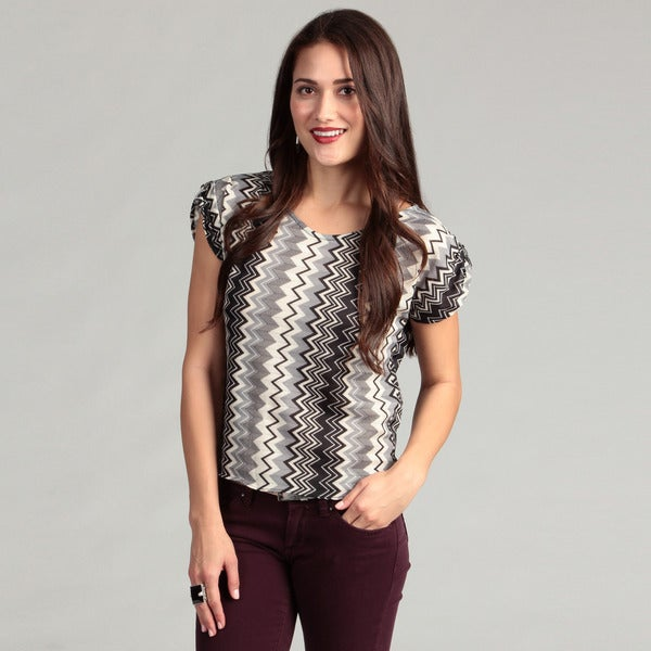 Institute Liberal Women's Asymmetrical Black Zig Zag Top