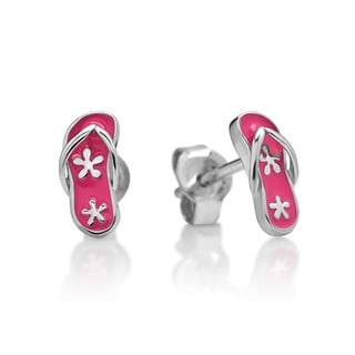 Chuvora Sterling Silver Children's Pink Flip Flop Stud Earrings