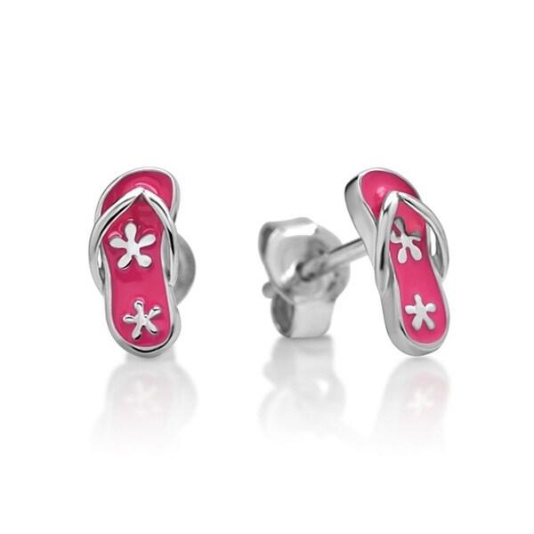 Chuvora Sterling Silver Children's Pink Flip Flop Stud Earrings