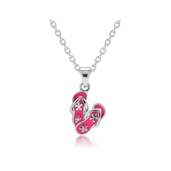 Chuvora Sterling Silver Children's Pink Flip Flop Necklace