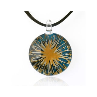 Chuvora Blue and Yellow Flower Murano Glass and Black Cord Necklace