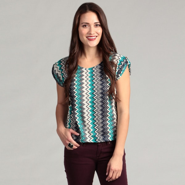 Institute Liberal Women's Asymmetrical Teal Zig Zag Top